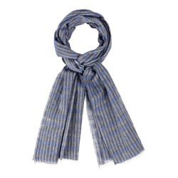 Echarpe  100% Coton-Rayures Bleu Et Grises