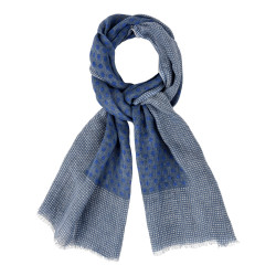 Echarpe 100% Lin Bleu Et Pois Bleu- Bordure Plumetis Blancs