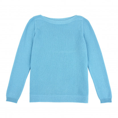 Pull Col Bateau 100% Cachemire Turquoise
