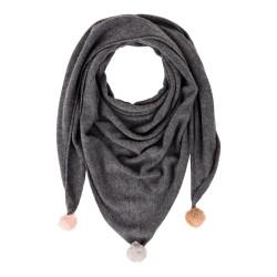 Echarpe Triangle Pompom / Rose Beige Marron Clair 100% Cachemire 2 Fils