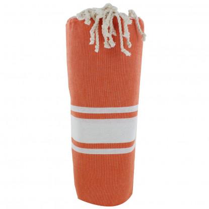 Fouta Drap Plage et Hammam Coton Couleur Orange Foncé