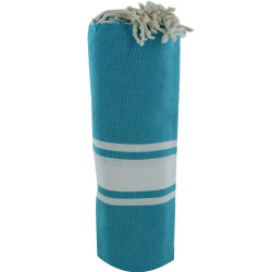 Fouta Drap Plage et Hammam Coton Couleur Bleu Vert 100 x 200cm