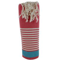 Fouta Drap Plage et Hammam Coton Couleur Rouge Bande Turquoise Petites Rayures Blanches 100 x 200cm