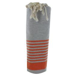 Fouta Drap Plage et Hammam Coton Couleur Gris Clair Bande et Petites Rayures Oranges 100 x 200cm