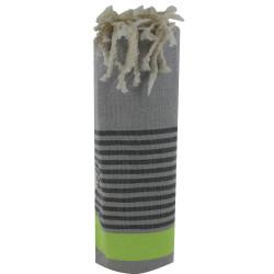 Fouta Drap Plage et Hammam Coton Couleur Gris Clair Bande Verte Petites Rayures Noires 100 x 200cm