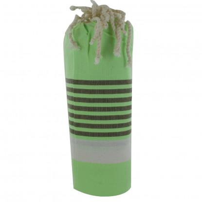 Fouta Drap Plage et Hammam Coton Couleur Vert Bande Blanche Petites Rayures Marrons 100 x 200cm