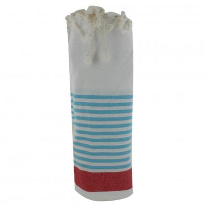 Fouta Drap Plage et Hammam Coton Couleur Blanc Bande Rouge Petites Rayures Turquoises 100 x 200cm