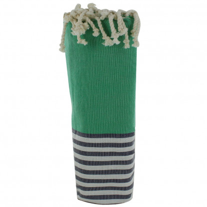 Fouta Drap Plage et Hammam Coton Couleur Vert Rayé Blanc et Bleu 100 x 200cm