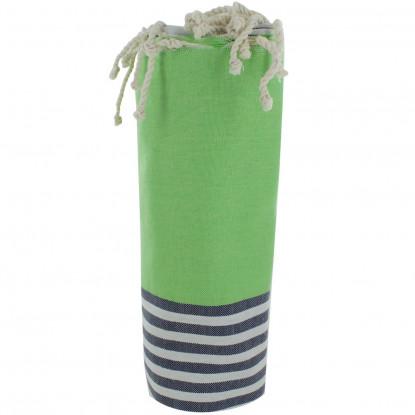 Fouta Drap Plage et Hammam Coton Couleur Vert Clair Rayé Blanc et Bleu 100 x 200cm
