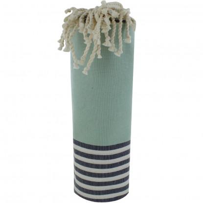 Fouta Drap Plage et Hammam Coton Couleur Vert Opaline Rayé Blanc et Bleu 100 x 200cm
