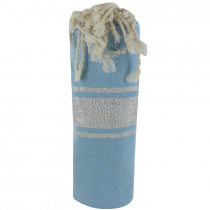 Fouta Drap Plage et Hammam Coton Bleu Ciel Rayé Lurex Argent 100 x 200cm