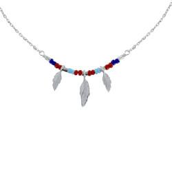 Collier Argent Rhodié Petite Plume et Perles Bleu Rouge Turquoise