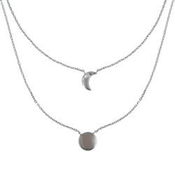 Collier Double Chaine Argent Rhodié Lune et Croissant de Lune