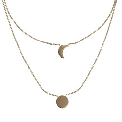 Collier Double Chaine Plaqué Or Lune et Croissant de Lune