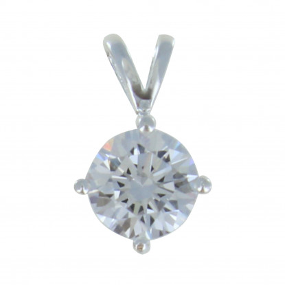 Pendentif Argent Strass Rond Cristal