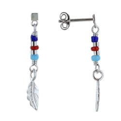 Boucles d'Oreilles Argent Rhodié Petite Plume et Perles Bleu Rouge Turquoise
