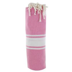 Fouta Drap Plage et Hammam Coton Couleur Rose Chewing-Gum 100 x 200cm