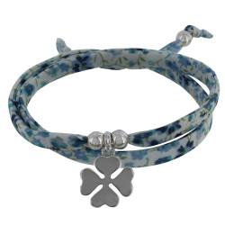 Bracelet Double Tour Lien Liberty Azur et Trèfle Argent