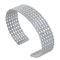 Bracelet Argent Rhodié Demi Jonc de Chaines