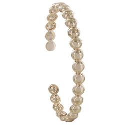 Bracelet Plaqué Or Demi Jonc Perles Plates