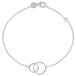 Bracelet Argent Rhodié Deux Cercles