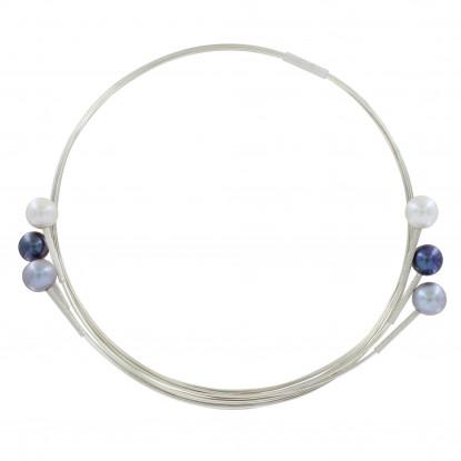 Collier Ras de Cou Fils d'Argent et 6 Perles Blanches et Grises
