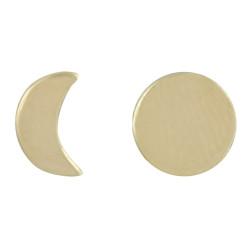 Boucles d'Oreilles Plaqué Or Lune et Croissant de Lune