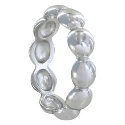 Bague Argent Rhodié Perles Plates