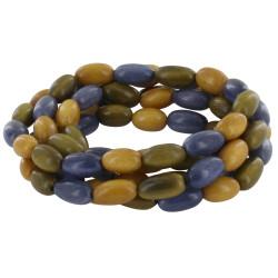 Collier ou Bracelet Elastique Graines de Tagua Ardoise Bronze Jaune