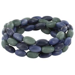Collier ou Bracelet Elastique Graines de Tagua Dégradé Gris Bleu