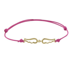 Bracelet Plaqué Or Deux Petites Ailes d'Ange Ajourées - Lien Fuchsia