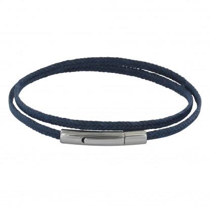 Bracelet Homme Double Tour Tresse en Lin Bleu Foncé