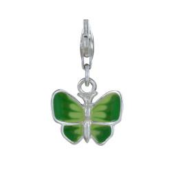 Charms Argent 925 Papillon des Iles - Emaillé Vert