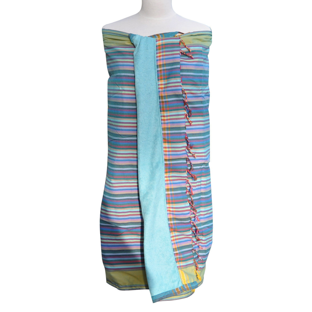 kikoy serviette plage coton couleur ray bleu vert jaune. Black Bedroom Furniture Sets. Home Design Ideas