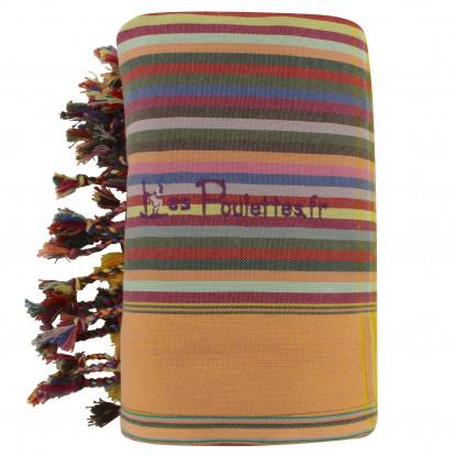 Kikoy Serviette Plage Coton Couleur Rayé Rouge Brique Jaune