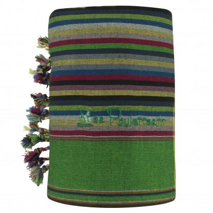 Kikoy Serviette Plage Coton Couleur Rayé Bleu Foncé Vert