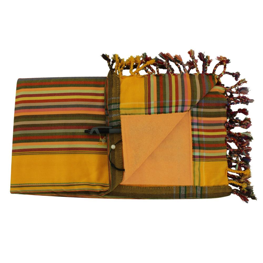 Kikoy Serviette Plage Coton Couleur Rayé Jaune Orange