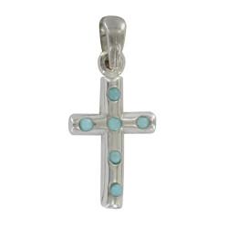 Pendentif Mini Croix Argent et Larimar