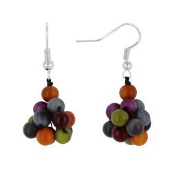 Boucles d'Oreilles Grappe de Perles Tagua Multicolore Automne