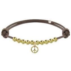 Bracelet Médaille Peace and Love et Perles Plaquées Or - Classics