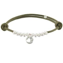 Bracelet Lien Médaille Coeur et Perles en Argent - Classics