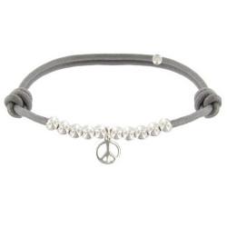 Bracelet Médaille Peace and Love et Perles en Argent - Classics