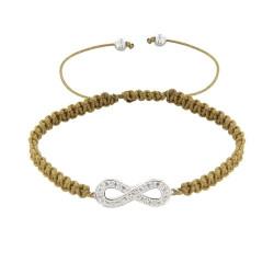 Bracelet Argent Infini et Strass Lien Tréssé - Colors