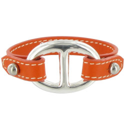 Bracelet Cuir et Maille Marine Argent 925 - Colors