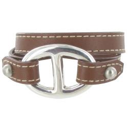 Bracelet Double Tour Cuir et Maille Marine Argent 925 - Classics