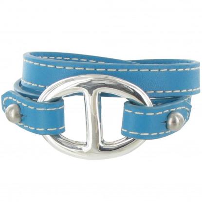 Bracelet Double Tour Cuir et Maille Marine Argent 925 - Colors