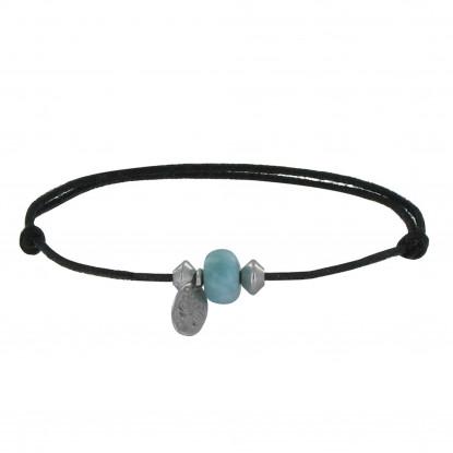Bracelet Lien Noir Un Anneau de Larimar et Deux Perles Iconic Argent