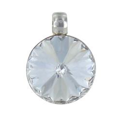 Pendentif Argent Swarovski Rond Cristal