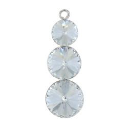 Pendentif Argent orné de Trois cristaux de Swarovski Rond Cristal
