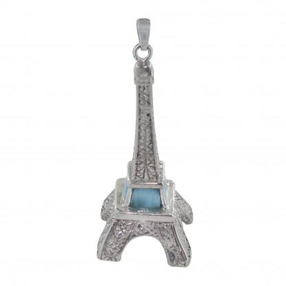 Pendentif Argent Tour Eiffel et Larimar
